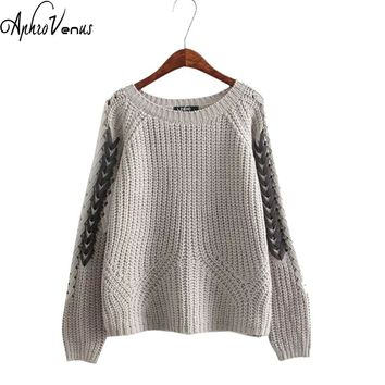 Autumn Knitted Sweater Women 2017 Autumn Sexy Long Sleeve Lace Up Jacket Pullover Ladies Casual Solid Loose Women Sweater Warm