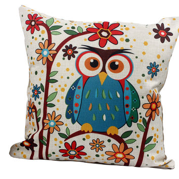 Throw Decorative Pillow  For Sofa Bed With Inner Core Square 45*45cm Colorful Car Home Decor Cushion Mr. Animal Cat Owl Printed