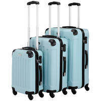 VonHaus 3-Piece Luggage Set made from ABS - Large Medium and Carry On Suitcase with Rotating Wheels Built-in Lock and Telescopic Handle Duck Egg Blue '