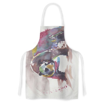 """Rebecca Bender """"Grizzly Bear Watercolor"""" Abstract Animal Artistic Apron"""