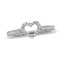 1/10 CT. T.W. Diamond Heart Ring in 10K White Gold - View All Rings - Zales