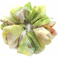 Light Green Large Chiffon Scrunchie for Hair Large Designer Accessories Elastic Hair Ties Ponytail Holder