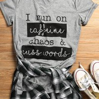 I Run on Caffeine Chaos & Cuss Words T-Shirt - Fairyseason