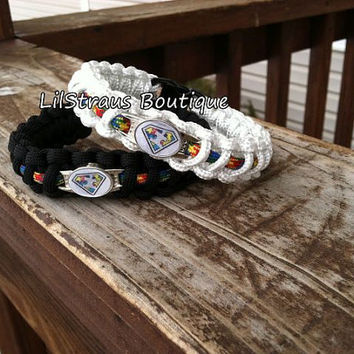 Autism Awareness Paracord Survival Bracelet with Shoelace Charm - Custom made with 550 paracord