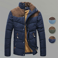 Suded Leather Patch Vintage Men Puffer Jacket SOS
