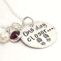 One Day Closer.. Hand Stamped Sterling Silver Necklace, Military Wife, Army Wife, Deployment Jewelry