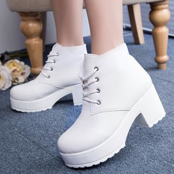 Fashion Women Thick Ankle Boots Cross Strap Martin Boot High Heels Punk Boot Chunky Heels White