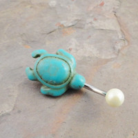 Turquoise Turtle Belly Button Ring Pearl Jewelry