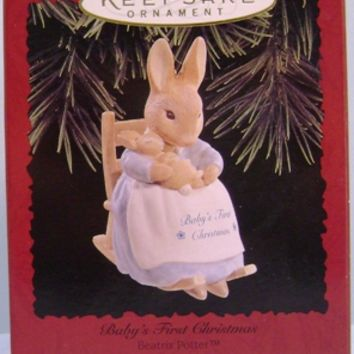 1996 Baby's First Christmas Hallmark Porcelain Ornament