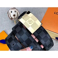 LV 2019 new simple wild men and women belt gold