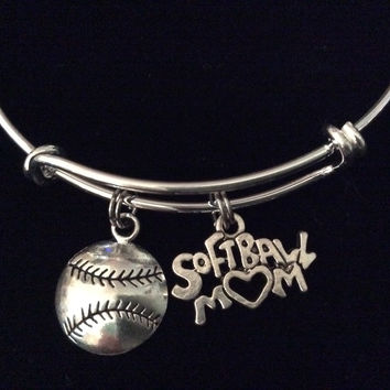 Softball Mom on a Silver Expandable Bangle Bracelet Sports Team Coach Gift Adjustable Wire Charm Bangle