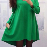 Solid Loose Swing Dress With Pocket