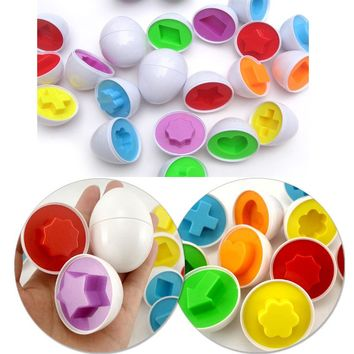 1 Pcs New Learning Education toys Mixed Shape Wise Pretend Puzzle Smart Eggs Baby Kid Learning Kitchen Toys