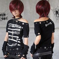 FASHION punk skull visual kei top skull Rock t-shirt cool design S M L FREE SHIP