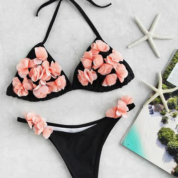 Flower Embellished Triangle Bikini Set