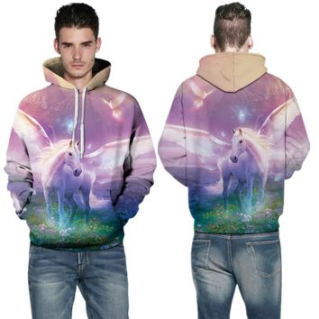 Fantasy White Unicorn Hoody Sweatshirts Pink Space Galaxy Skateboarding Hoodies Autumn Men's Outerwear Sweaters Winter Oversized