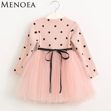 2018 Spring Cute Style Girls Dress Long-sleeve Dot Mesh Design Princess Dress Children Winter Clothing Knee Length