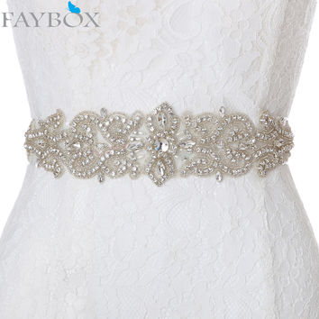 Faybox New Sparkly Crystal Wedding Czech Belt Formal Wedding Belts Vintage Sash Handmade Elegant Bridal DIY Pearl Applique Sash