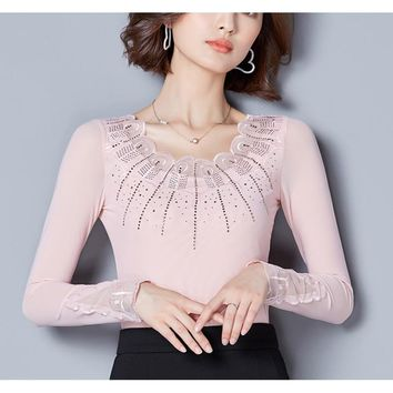 Blusas Mujer De Moda 2018 Mesh Long Sleeve Vintage Women Tops Diamonds Pink Shirt Black Shirts Womens Clothing Vetement Femme