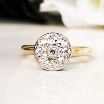 Antique Engagement Ring 0.36ctw Old Mine Cut Diamond Ring Platinum & 14K Yellow Gold Floral Daisy Diamond Cluster Wedding Ring Size 6.5