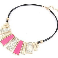 Women's Irregular Geometry Exaggerated Statement Necklace (Rose Red)