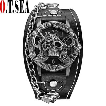 O.T.SEA Brand Pirate Skull Watches Men Luxury Leather Sports Quartz Wrist Watch Relogio Masculino 1831-6