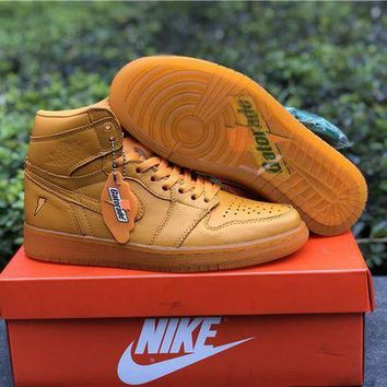 522b0ea3ec7 PEAPHX7 Nike Air Jordan 1 Retro OG High Gatorade Orange Sneakers