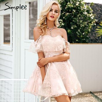 Simplee Off shoulder flower mesh summer dress women Elegant high waist backless mini dress 2017 Fashion strapless party dresses