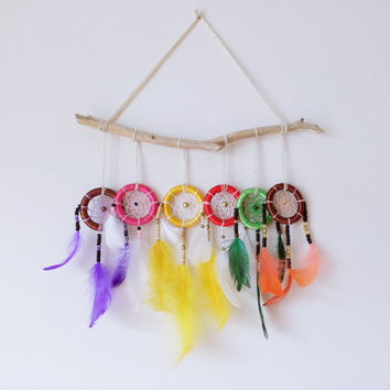 Dreamcatcher Coloured, Colourful Dreamcatcher Wall Decor, Home Decor, Purple White Yellow White Green Orange Feathers, Handmade Dreamcatcher