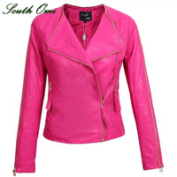 Autumn 2015 leather jackets ladies women's design motorcycle jackets short coat leather jacket women leather sleeve Black pink