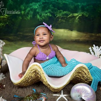 Mermaid Prop Set - Mermaid Tail Outfit - Mermaid Blanket - Crochet Mermaid Tail - Sea Shell Bra - Mermaid Outfit - Mermaid Tail - Photo Prop