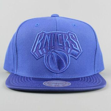 DCCK7BE Mitchell & Ness EU832 New York Knicks Ballistic Snapback Royal Blue Cap Hat