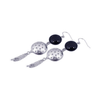 .925 Sterling Silver Rhodium Plated  Round Half Golf Ball Cubic Zirconia Dangling Wire Multi Strand Hook Earring: SOD