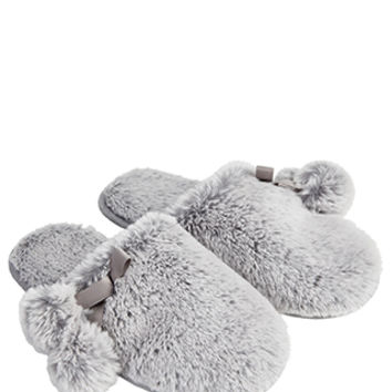 Accessorize | Furry Pom Pom Mule Slippers | Grey | Large