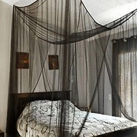 Super buy 4 Corner Post Bed Canopy Mosquito Net Full Queen King Size Netting Black Bedding