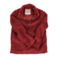 CHILD'S Silky Pile Pullover 1/4 Zip in Red by True Grit - FINAL SALE