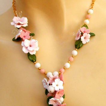 Flower necklace - Pink jewelry - Sakura - Cherry blossom -  Handmade spring jewelry