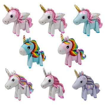 NEW! 50pcs 3D cute rainbow unicorn air foil balloons cartoon animal balloon baby shower birthday party wedding Decor globos
