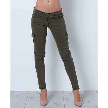 Venturing Out Cargo Skinny Denim Jeans - Green