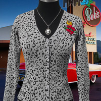 Rockabilly Leopard Cardigan with sacred heart