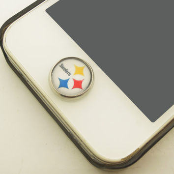1PC Retro Epoxy Transparent Time Gems Alloy  Steelers Home Button Sticker for iPhone 4s,4g, 5, 5c,5s,6 Smart Phone Charm Best Friend Gift