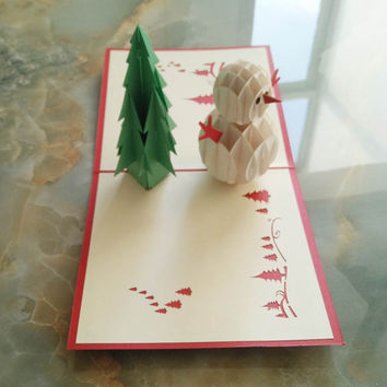 3D Pop Up Handmade Christmas Snow Man Happy New Year Greeting Card