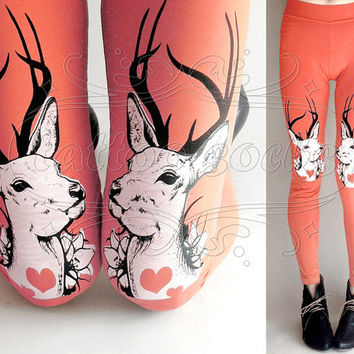 M pinkish Oh Deer cotton hand printed skinny leggings / footless tights
