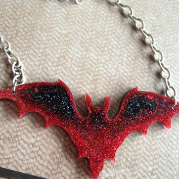 Glitter Bat, Red and Black, Resin Pendant, Resin Necklace, Statement Piece