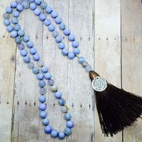 Tassel Necklace Blue Gemstone Long Beaded Necklace Hand Knotted Agate Brown Silk Tassel Inspirational Charm  Rustic Yoga  Boho Chic Jewelry