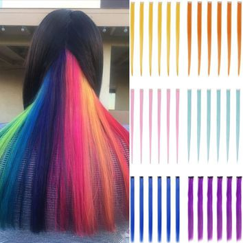 12 Pcs 20 Inch Long Straight Colorful Highlight Clip in Hair Extensions with 6 Colors