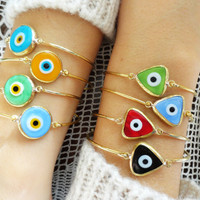 Evil eye bangle bracelet gold wire bracelet glass evil eye bracelet turkish jewellery triangle charm bracelet geometric evil eye schmuck