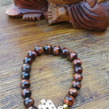 Original Collection- Brown Tiger Eye Beaded Hand Made Bracelet/Gold Hamsa Charm
