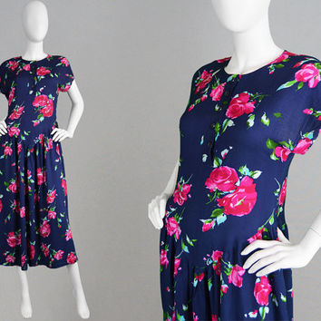 Vintage Chelsea Girl 70s does 40s Style Dress Navy Blue Tea Dress Rose Print Cap Sleeves Rayon Dress 1940s Style Dress Summer Dress Medium M