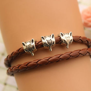 fox bracelet,retro silver fox head Pandora bead bracelet,brown leather bracelet---B242